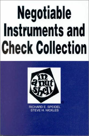 Negotiable Instruments and Check Collection in a Nutshell  4th 1997 9780314022943 Front Cover