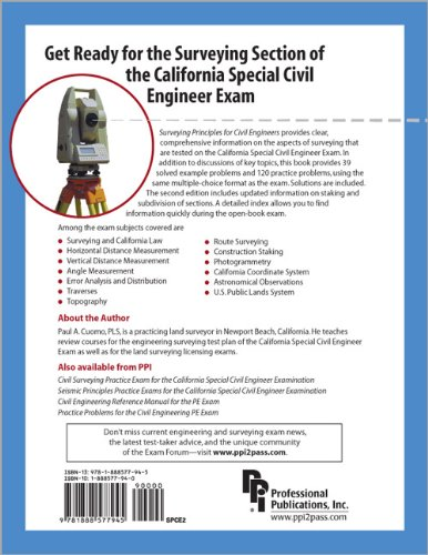 Surveying Principles for Civil Engineers Review for the Engineering Surveying Section of the California Special Civil Engineer Examination 2nd 2003 edition cover