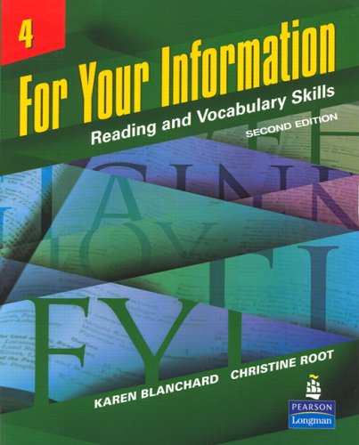 For Your Information Reading and Vocabulary Skills 2nd 2007 edition cover