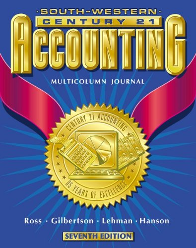 Accounting Multicolumn Journal Approach  7th 2000 (Student Manual, Study Guide, etc.) 9780538676946 Front Cover