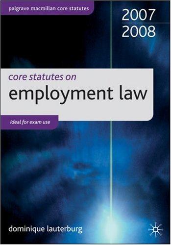 Core Statutes on Employment Law (Palgrave Macmillan Core Statutes) N/A edition cover
