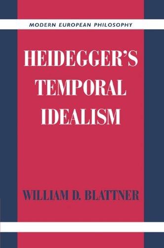 Heidegger's Temporal Idealism   2005 9780521020947 Front Cover
