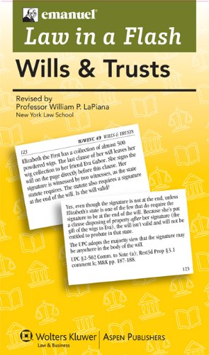 Law in a Flash Cards Wills and Trusts 2013 Student Manual, Study Guide, etc. edition cover