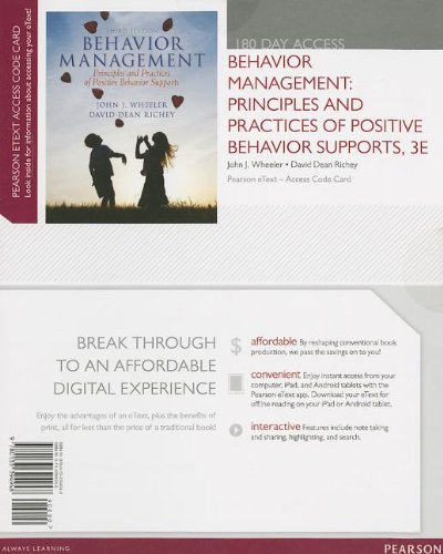 Behavior Management Principles and Practices of Positive Behavior Supports, Pearson EText -- Access Card 3rd 2014 edition cover