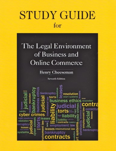 Study Guide for Legal Environment of Business and Online Commerce  7th 2013 edition cover