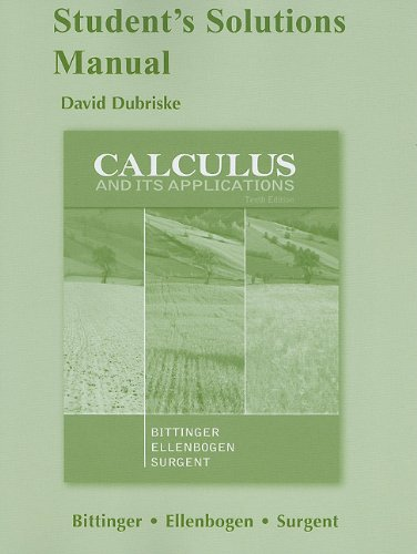 Student Solutions Manual for Calculus and Its Applications  10th 2012 edition cover
