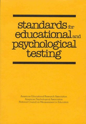 Standards for Educational and Psychological Testing   1985 edition cover