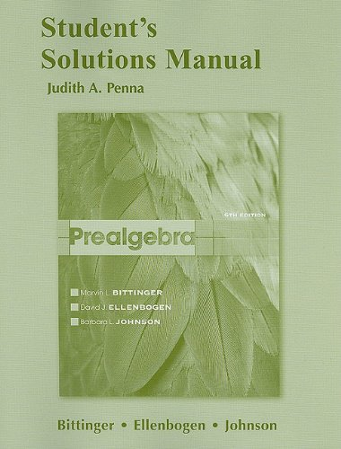 Student Solutions Manual for Prealgebra  6th 2012 edition cover