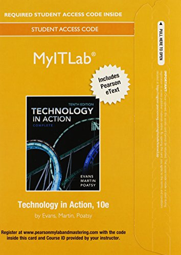 MyITLab with Pearson eText -- Access Card -- for Technology In Action 10th 2014 edition cover