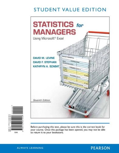 Statistics for Managers Using Microsoft Excel, Student Value Edition  7th 2014 edition cover