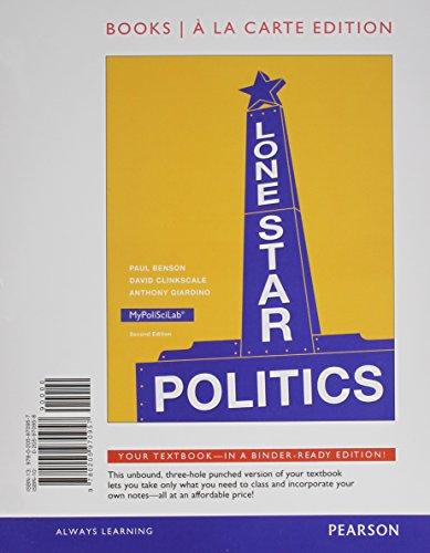 Lone Star Politics, Books a la Carte Edition  2nd 2014 edition cover