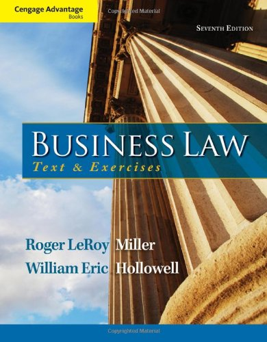 Business Law Text and Exercises 7th 2014 9781133625957 Front Cover
