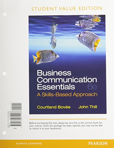 Business Communication Essentials, Student Value Edition Plus 2014 MyBCommLab with Pearson EText -- Access Card  6th 2014 edition cover