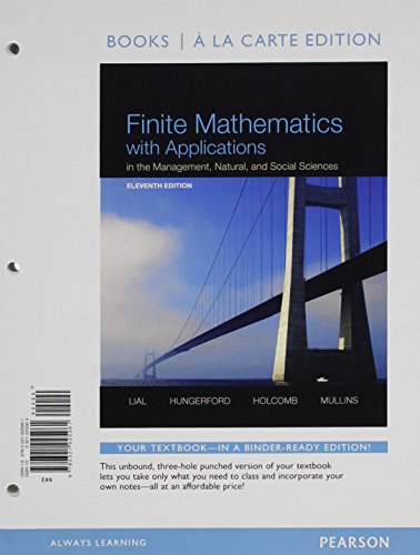 Finite Mathematics with Applications in the Management, Natural, and Social Sciences, Books a la Carte Edition  11th 2015 edition cover