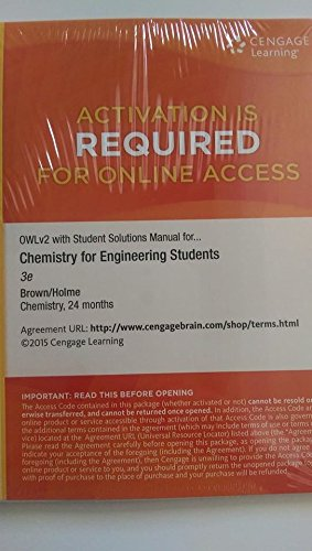 CHEMISTRY F/ENGINEERING STUD.-ACCESS    N/A 9781285844961 Front Cover