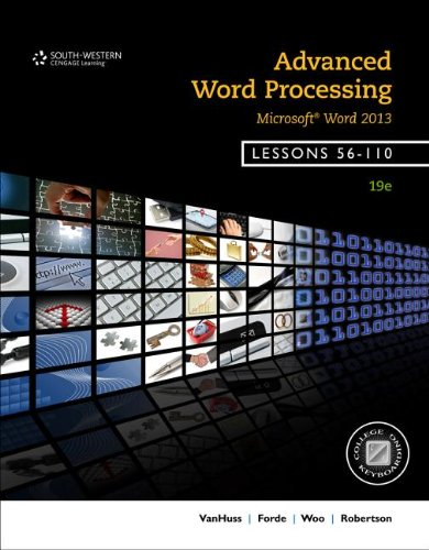 Advanced Word Processing, Lessons 56-110: Microsoft Word  2013 edition cover
