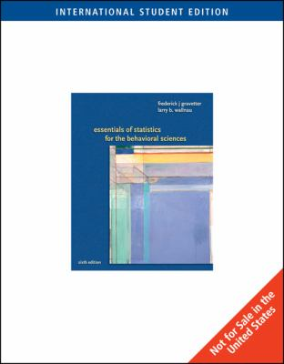 Essentials of Statistics for Behavioral Science  2007 edition cover