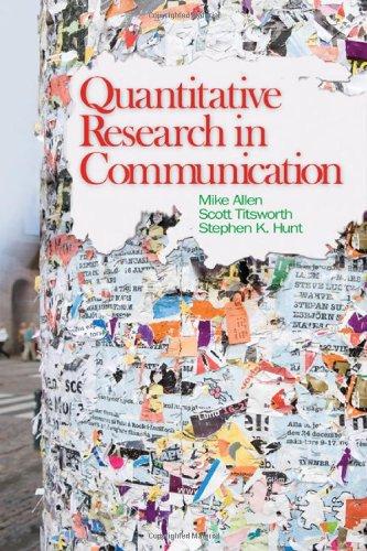 Quantitative Research in Communication   2009 edition cover
