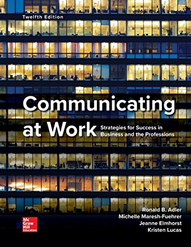 COMMUNICATING AT WORK                   N/A 9780078036965 Front Cover
