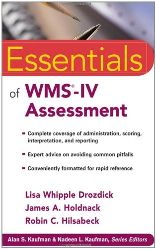 Essentials of WMS-IV Assessment   2011 edition cover