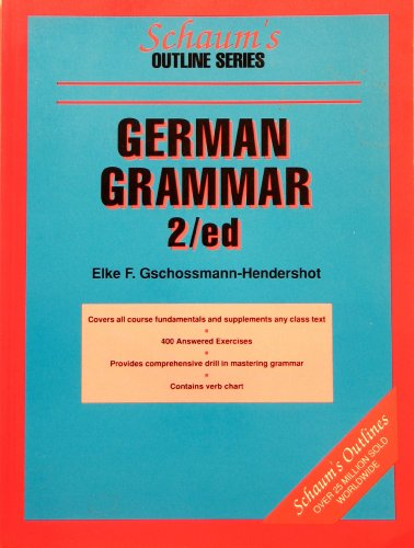 Schaum's Outline of German Grammar 2nd 9780070250970 Front Cover