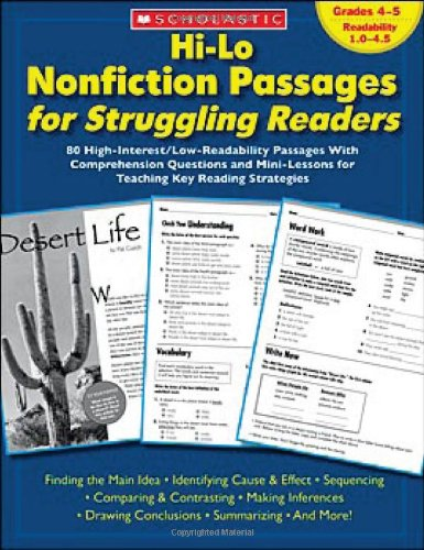 Hi-Lo Nonfiction Passages for Struggling Readers 80 High-Interest - Low-Readability Passages with Comprehension Questions and Mini-Lessons for Teaching Key Reading Strategies  2007 edition cover