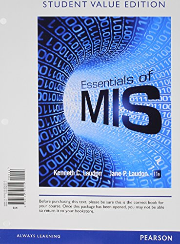 Essentials of MIS, Student Value Edition Plus 2014 MyMISLab with Pearson EText -- Access Card Package  11th 2015 edition cover