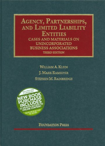 Agency, Partnerships, and Limited Liability Entities Cases and Materials on Unincorporated Business Associations 3rd 2012 (Revised) edition cover