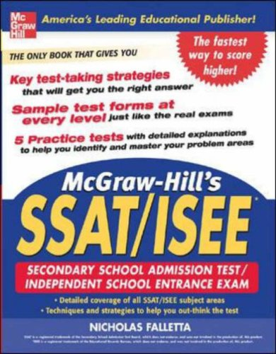 McGraw-Hill's SSAT/ISEE High School Entrance Exams   2006 9780071453974 Front Cover