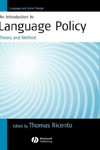 Introduction to Language Policy Theory and Method  2005 9781405114974 Front Cover