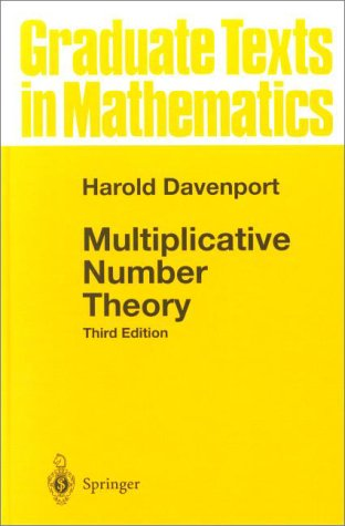 Multiplicative Number Theory  3rd 2000 (Revised) edition cover