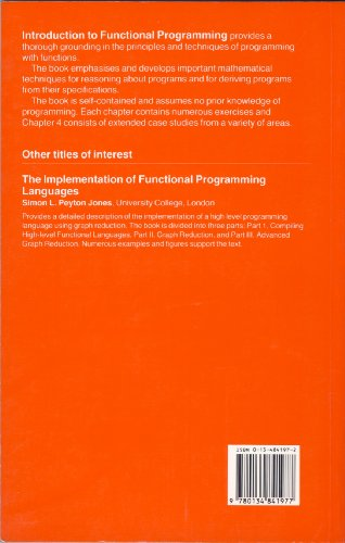 Functional Programming  1988 9780134841977 Front Cover