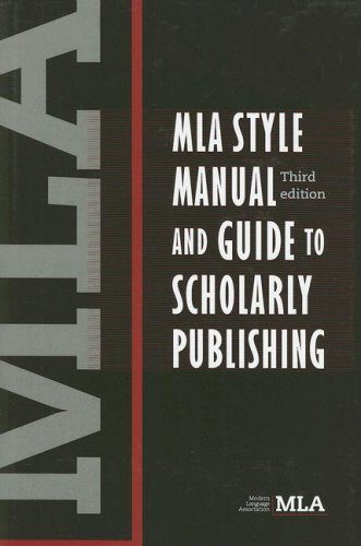 MLA Style Manual and Guide to Scholarly Publishing  3rd 2008 edition cover