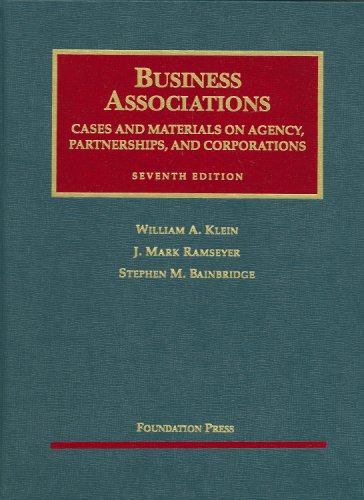 Business Associations, Cases and Materials on Agency, Partnerships, and Corporations  7th 2009 (Revised) edition cover