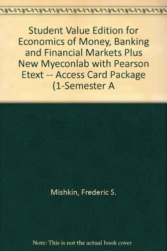 Economics of Money, Banking and Financial Markets  10th 2013 (Student Manual, Study Guide, etc.) edition cover