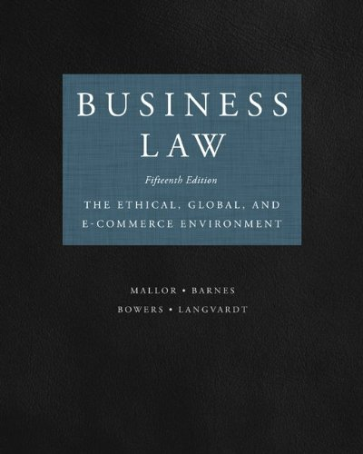 Business Law  15th 2013 9780073524986 Front Cover
