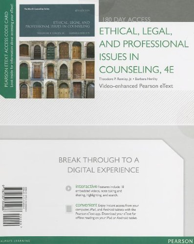 Ethical, Legal, and Professional Issues in Counseling  4th 2014 9780133394986 Front Cover