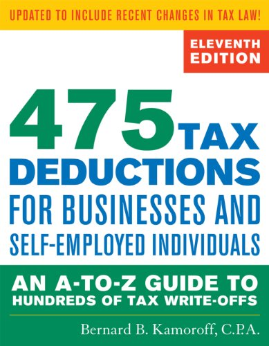 475 Tax Deductions for Businesses and Self-Employed Individuals An A-To-Z Guide to Hundreds of Tax Write-Offs 11th 2013 edition cover