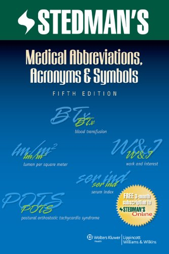 Medical Abbreviations, Acronyms and Symbols  5th 2013 (Revised) edition cover