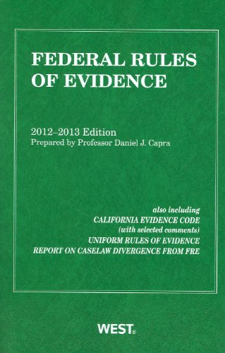 Federal Rules of Evidence, 2012-2013 with Evidence Map   2012 9780314280992 Front Cover