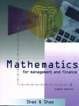 Mathematics for Management and Finance  8th 1998 edition cover