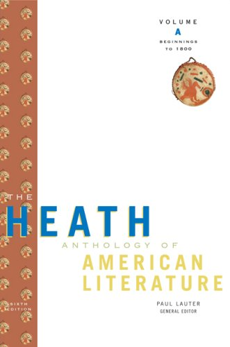Heath Anthology of American Literature, Beginnings to 1800  6th 2009 edition cover