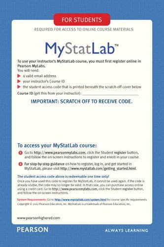 My StatLab Glue-in Access Card  2012 edition cover
