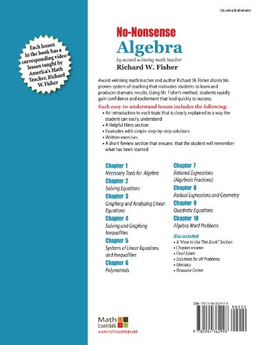 Mastering Essential Math Skiils No-Nonsense Algebra: Master Algebra the Easy Way!  2011 edition cover