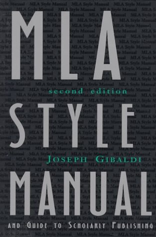 MLA Style Manual and Guide to Scholarly Publishing  2nd 1998 edition cover