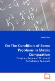 On the Condition of Some Problems in Matrix Compuation 2009 9783639111095 Front Cover