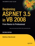 Beginning ASP. NET 3. 5 in VB 2008 1st 2007 9781590598924 Front Cover