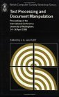 Text Processing and Document Manipulation Proceedings of the International Conference, University of Nottingham, 14-16 April 1986 1986 9780521325929 Front Cover